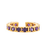 Fancy gold plated band ring with multiple square purple american diamonds (adjustable)