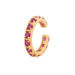 Fancy gold plated band ring with multiple square Pink american diamonds (adjustable)