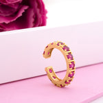 Fancy gold plated band ring with multiple square Pink american diamonds