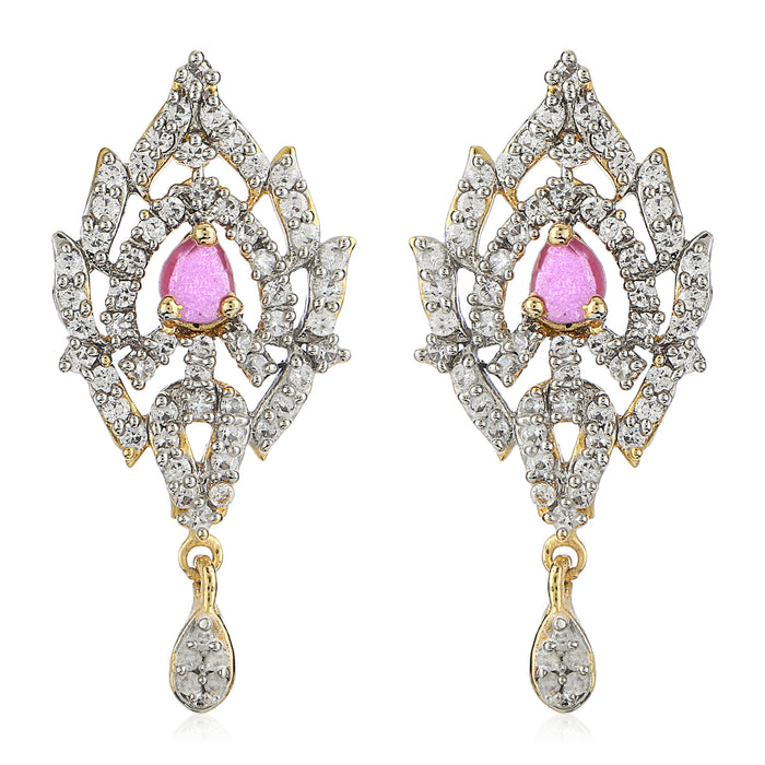 Pink & White Ad Stone Earrings For Womens