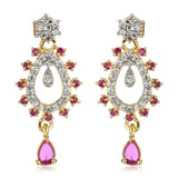 Pink And White AD Stone Drop Earrings