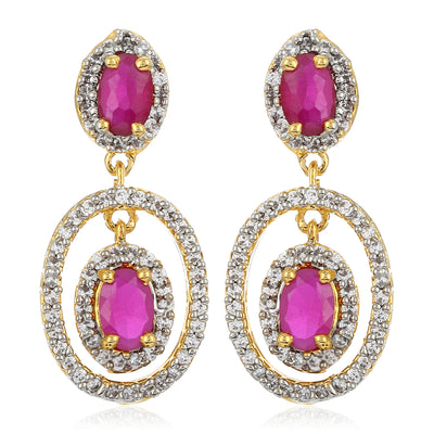 Drop Earring With White And Pink AD Stones