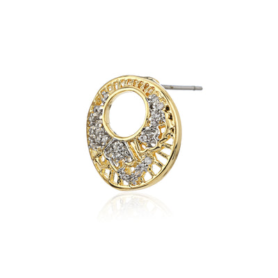 AD Stone Round Stud Earrings