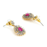 White And Pink Ad Stone Drop Earrings