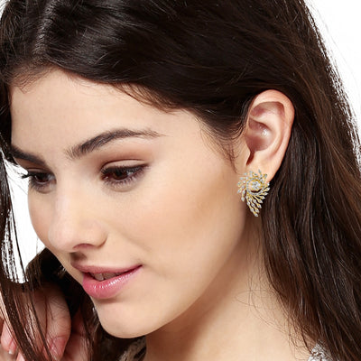 Gold Tone Plated White Ad Stone Stud Earrings