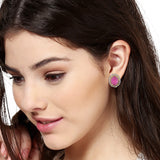 Round Pink Ad Stone Stud Earring