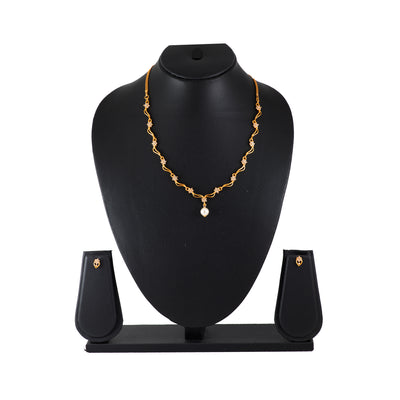 Modern Gold plated American Diamond Star wave Necklace