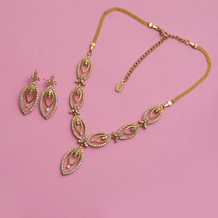 24Kt Gold Plated Necklace Set with American Diamond Crystals for Women