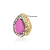 Pink And White AD Stone Stud Earring