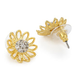 Two Tone Plated Flower Shaped Stud Earrings