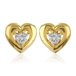 Heart Shaped Stud Earrings With Ad Stone