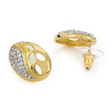 Gold And Silver Tone Plated White AD Stone Earrings