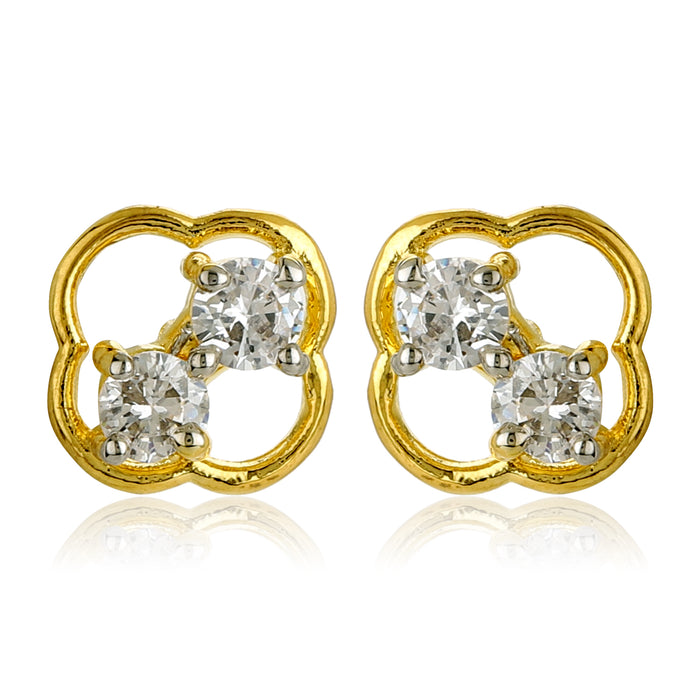 Gold Tone Plated Stud Earrings With Ad Stone