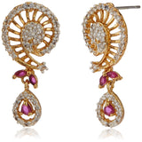 Estele - 24 KT gold plated Pendant Set with Austrian Crystals and Ruby stones for Women
