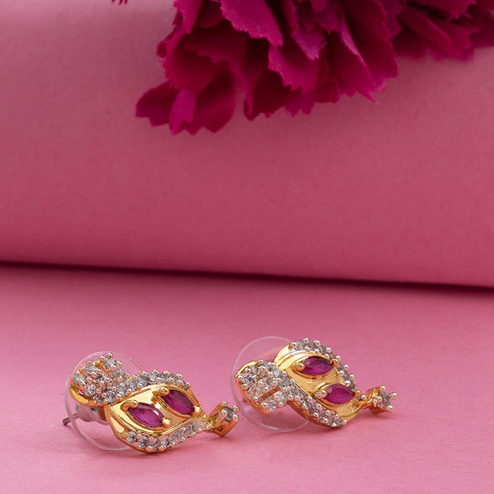 Estele 24 Kt Gold Plated American Diamond Marquise Ruby traditional Stud Earrings for women