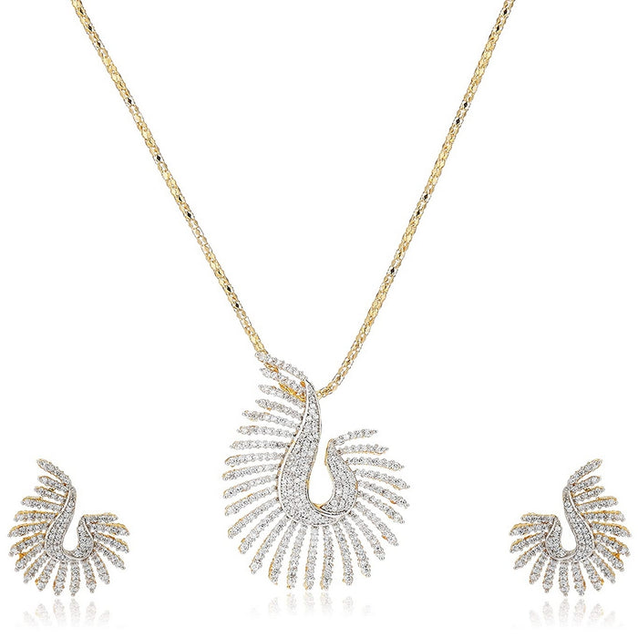 Estele GOLD plated  CZ Designer Pendant Necklace Set with Chain & Earrings for Women