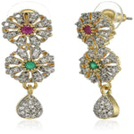 Estele Gold Plated American Diamond Red and green Flower  Dangle Earrings for women