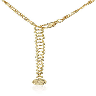 Estele Gold Plated American Diamond Oval Loop Chain Necklace Set for Women