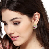 Estele Gold  Plated American Diamond Ruby Leaf  Drop Earrings for women