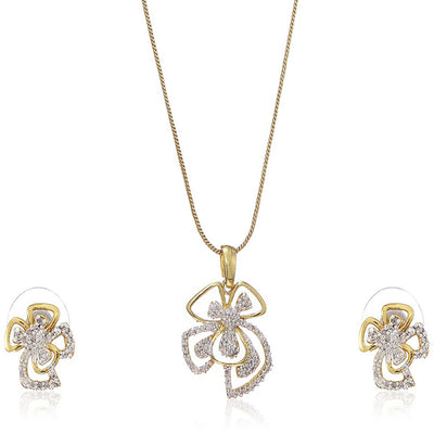 Estele  Gold Plated American Diamond Flower Necklace Set for Women