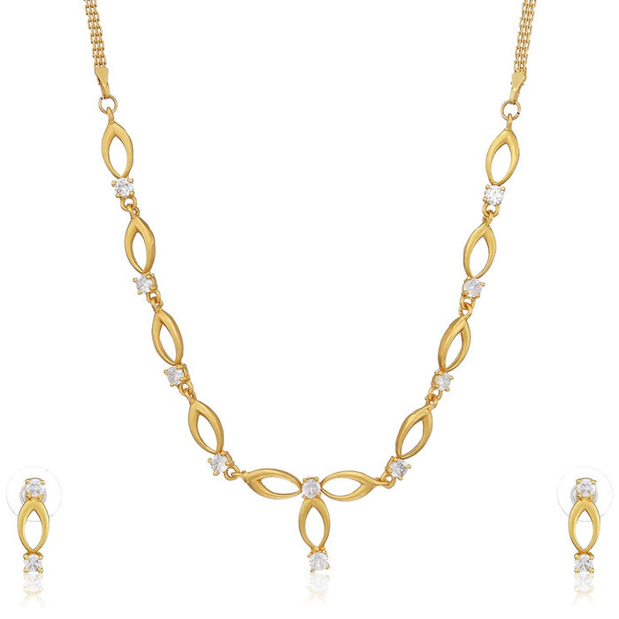 Estele 24 Kt Gold Plated Oval Halo American Diamond Necklace Set for Women