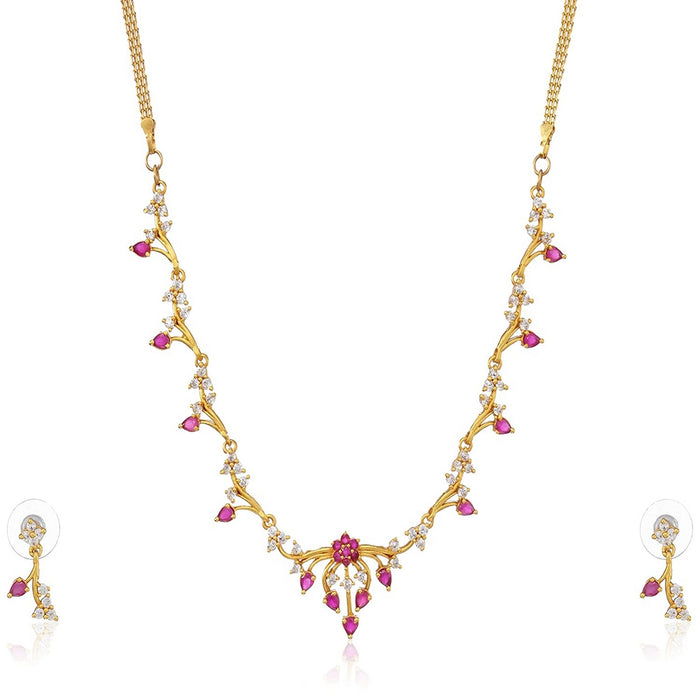Estele 24 Kt Gold Plated with American Diamonds Necklace Set with ruby stones for Women