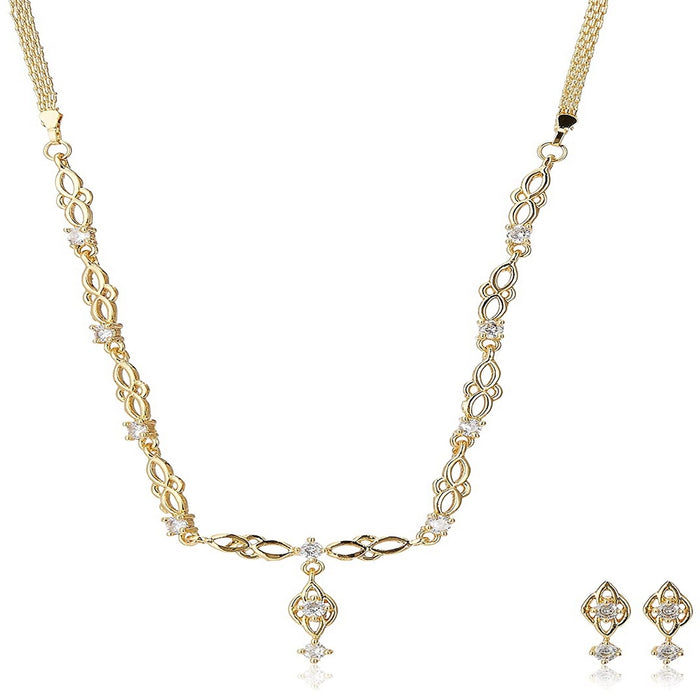 Estele 24 Kt Gold Plated American Diamond Flower Drop Necklace Set for Women
