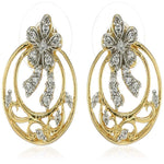 Estele Gold  Plated American Diamond Tendril wreath  Stud Earrings for women