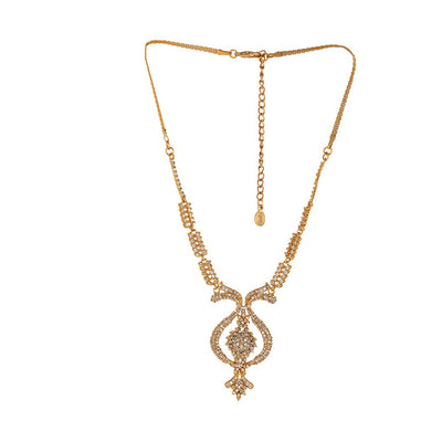 Estele 24 Kt Gold Plated Austrian Diamond Necklace Set for Women