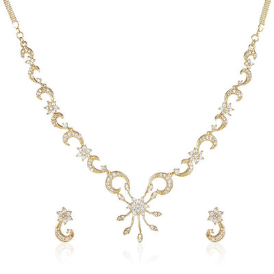 Estele - 24 Kt Gold Plated CZ Dazzling American Diamond Flower Necklaces for women
