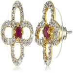 Estele Gold and Silver Plated American Diamond Ruby Primrose Stud Earrings for women