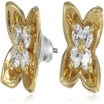 Estele Gold Plated American Diamond Bedstraw Stud Earrings for women