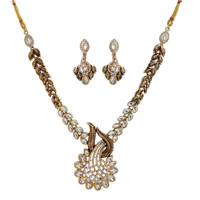 Traditional Antique Gold tone Kundan Paisley Fern Necklace