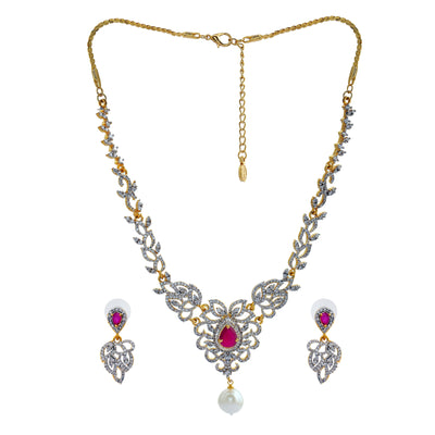 Traditional Gold and Silver plated Blooming Twine Necklace with American diamond, cz ruby and pearl