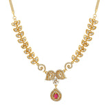 Traditional Gold plated Paisley crush Necklace with American diamond and cz ruby