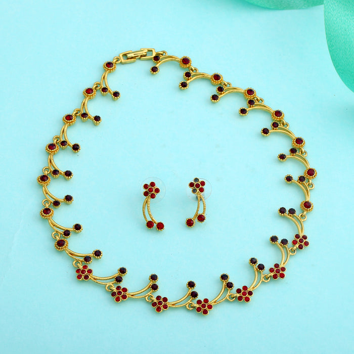 Modern Gold Plated Dalia Hanging Bloom Necklace