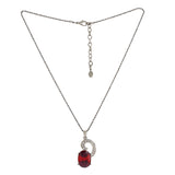 Modern Rhodium plated Captivating Swirl Ruby Necklace