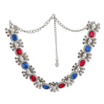 Designer Rhodium plated Pop Diva Necklace with blue and pink Austrian crystals