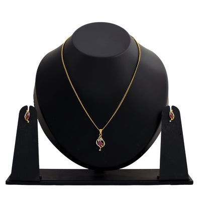 Modern Gold and silver plated American diamond Caught in a wave ruby Necklace