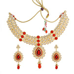 Latest Traditional Red Kundan Choker Necklace Jewellery Set