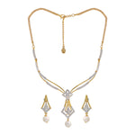 Modern Gold and silver plated Sparkling rhombus Necklace