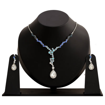 Stylish Rhodium plated Trickling rain drop Necklace