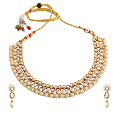 Designer Kundan & Pearl Gold Plated Jewellery Set for Women/Girls