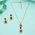 Stylish Gold Plated Sparkling Austrian crystal drop Necklace