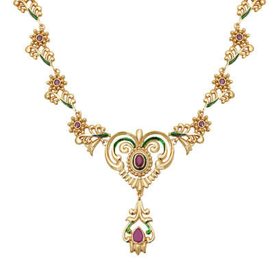 Traditional Gold plated Ruby Enamel Peepal Necklace