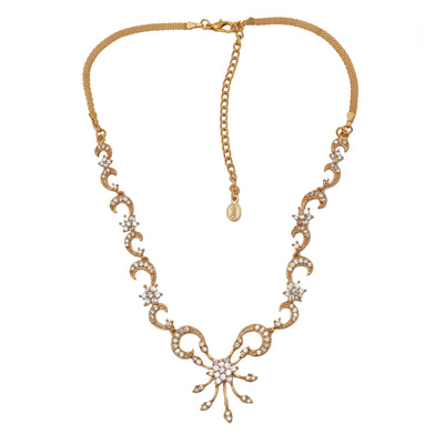 Stylish Gold plated American Diamond Nakshatra Swirl Necklace