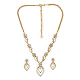 Stylish Gold plated American Diamond CZ Freesia Necklace