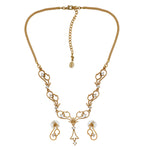 Stylish Matt Gold plated American Diamond CZ Tulip Bloom Necklace