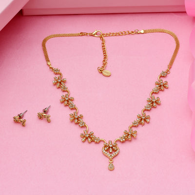 Stylish Gold plated American Diamond CZ Flower braid Necklace