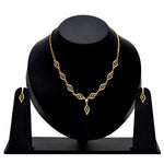 Stylish Matt Gold plated American Diamond CZ Banded Tulip Necklace